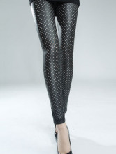 Peach Heart Design Black Polyester Spandex Womens Leggings