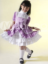 Purple White 100% Cotton Stand Collar Childrens Lolita Dress