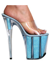 Beautiful Blue 7 9/10'' Heel 3 1/2'' Platform PU Womens Sexy Sandals