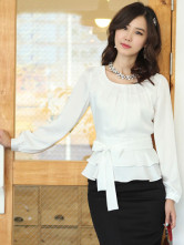 Blouse Chemise Dammes 35% Spandex 40% Fibre 25% Polyester Blanche Elgante
