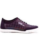 Fashionable Purple Cow Leather Plaid Pattern Lace-up Casual Shoes For Men