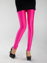 Glittery Fuchsia Nylon Yarn Womens Fluorescent Leggings