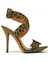 Leopard Pattern 4'' Heel Buckle Suede Womens Sexy Sandals