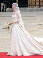 Princess Kate 2M Sweep Ivory Satin Lace V-Neck Wedding Dress