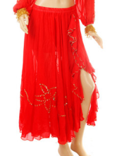 Red 100% Chiffon Beads Belly Dance Dress