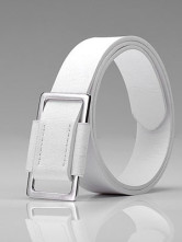 Stylish White PU Mens Belt