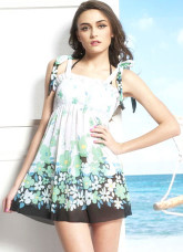 Blue Nylon Polyamide Womens Printed Swimdress