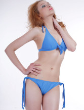 Attractive Blue Nylon Two-Piece Ladies Bikini Swimsuit