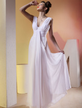 Elegant White Empire Waist Floor Length Chiffon Wedding Dress