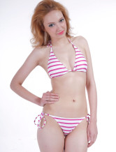 Fabulous White  Nylon Two-Piece Ladies Bikini Swimsuit