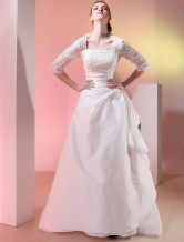 Gorgeous White Square Neck Sweep Tulle Lace Luxury Wedding Dress