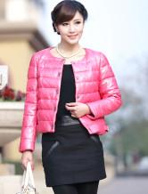 Куртка розового из кожи овчины фото.