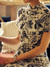 Vintage Big Floral Prints Short Sleeves Flax Cheongsam Costumes