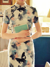 Vintage Floral Prints Ink Short Sleeves Flax Cheongsam Costumes