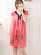 Gorgeous Watermelon Red Knitted Cotton Floral Maternity Dress