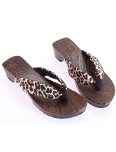 Glamorous Black Golden Leopard 1 3/5'' Heel Womens Clogs