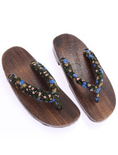 Glamorous Blue Flower Crescent 1 3/5'' Heel Womens Clogs