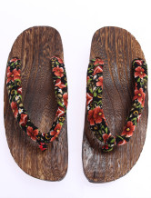 Fashion Red Floral Cloth 1 3/5'' Heel Height Wood Flip Flop