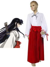 Red White Uniform Cloth Inuyasha Kikyo Girls Cosplay Costume