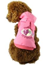 Яркая розовая трикотажная майка с озорным капюшоном с ушками.