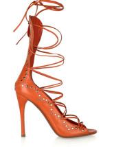 3 9 / 10  '' de tacón alto rojos atractivos PU Mujeres Decoración Rayas Zapatos de Moda