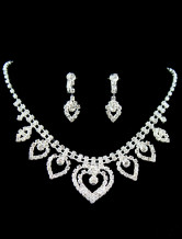 Heart-shaped Silver Alloy Rhinestone Earrings And Necklace