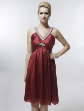 Red Sweet Organza With Satin Womens Evening Dress