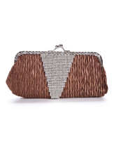 Coffee Satin 24*11.5cm Rhinestone Ladies Special Occasion Handbag