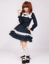 Cotton Blue Long Sleeves Cotton Cosplay Lolita Dress
