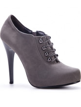4 3/4'' High Heel Gray PU Flannel Womens Ankle Boots