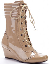 Trendy Khaki PU 2 2/5'' High Wedge Boots For Women
