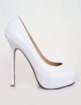 Modern White Sheepskin 5 1/2'' High Heel Shoes For Women