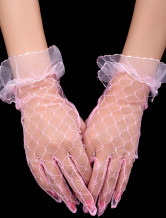 Sweet Pink Satin Wedding Short Gloves For Brides