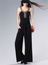 Fashionable Black Knitted Fabric Round Neck Metallic Ladies Jumpsuit