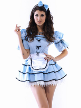 Beautiful Blue White Acrylic Spandex Princess Costumes