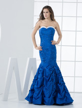 Deep Blue Strapless Mermaid Taffeta Prom Dress/Homecoming Dress