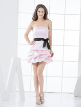 Pin Strapless Black Sash Satin Cocktail Homecoming Dress