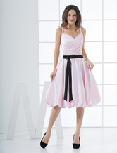 Pink Spaghetti Pleated Sash Satin Graduation Dress