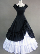 Gothic Lolita Victorian Black And White Cotton Long Formal Dress