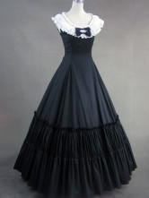 Classic Lolita Victorian Aristocrat Black Cotton Long Dress Floor Length