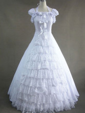 Classic Lolita White Victorian Rococo Ruffled Long Gown Wedding Dress