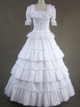 Classic Lolita Victorian Rococo Pleated Cotton Long Dress