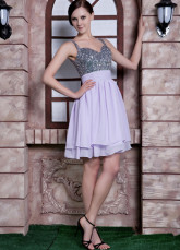 Lilac Chiffon Beading Spaghetti Strap Short Cocktail Dress