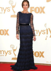 Blue Kelly Macdonald Long Sleeves Lace Floor Length Emmy Awards Dress