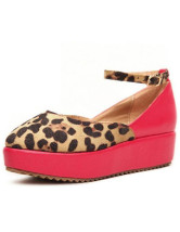 Ankle Strap Buckle PU Womens Leopard Platform Shoes