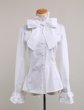 Lolitashow White Cotton Lolita Blouse Long Sleeves Stand Collar Bow Ruffles