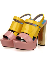 Color Block Open Toe Chunky Heel PU Womens Dress Sandals