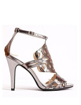 Classic Silver Buckle Open Toe PU Womens Dress Sandals
