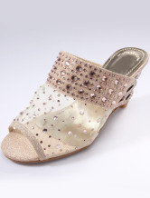 Cute Beige 2 2/5'' Heel Net Womens Sandals
