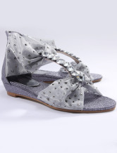 Elegant Gray Mesh Rhinestone Womens Beach Sandals